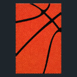 """Basketball Skin Stationery Paper<br><div class=""""desc"""">Basketball Skin Stationery Paper: Make your own customized basketball stationary by clicking the &quot;Customize&quot; button and adding your own text,  or just leave it as is for a simple basketball design. Great for basketball parties,  banquets and events,  or for decorating the basketball office or fieldhouse.</div>"""