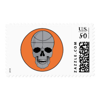 basketball skull design postage