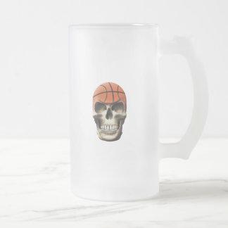 Basketball Skull Frosted Glass Beer Mug