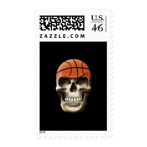 Basketball Skull Postage Stamps