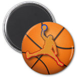 BASKETBALL SLAM DUNK 2 INCH ROUND MAGNET