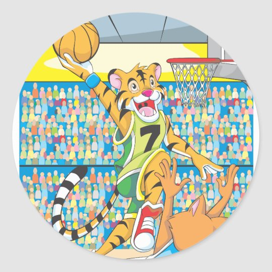 Basketball Slam Dunk by Tiger, Guarded by a Fox Classic Round Sticker