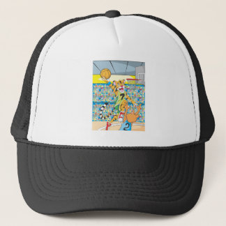 Basketball Slam Dunk by Tiger, Guarded by a Fox Trucker Hat