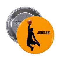 basketball slam dunk pinback button