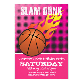 Basketball Slam Dunk Pink Kids Sports Birthday Card