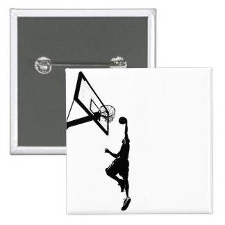 Basketball Slam Dunk Silhouette Pinback Buttons