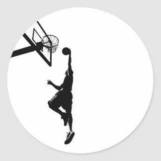 Basketball Slam Dunk Silhouette Classic Round Sticker