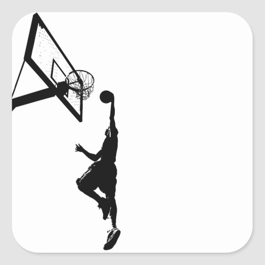 Basketball Slam Dunk Silhouette Square Sticker
