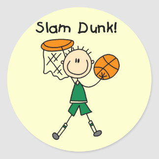 Basketball Slam Dunk T-shirts and Gifts Classic Round Sticker