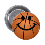 Basketball smiley face 2 inch round button