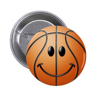 Basketball Smiley Face 2 Inch Round Button