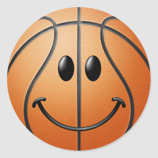Basketball Smiley Face Classic Round Sticker