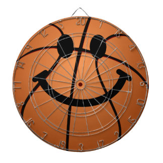 Basketball smiley face dartboard with darts