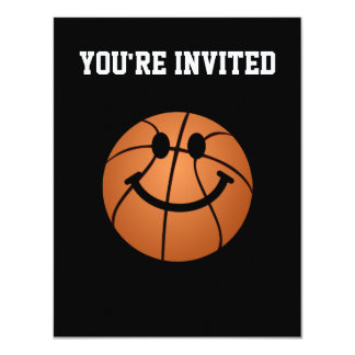Basketball smiley face 4.25x5.5 paper invitation card