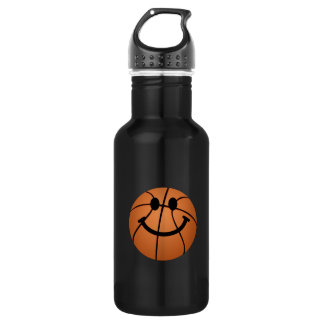 Basketball smiley face stainless steel water bottle