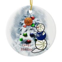 Basketball Snowman Christmas Ceramic Ornament