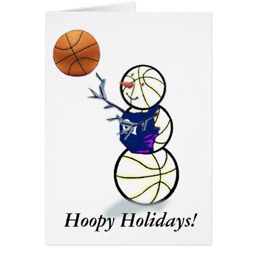 Basketball Snowman Christmas Greeting Card