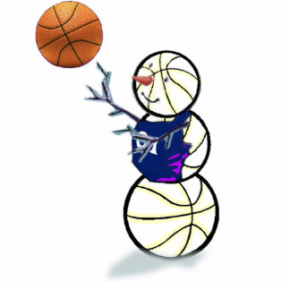 Basketball Snowman Christmas Photo Cut Out