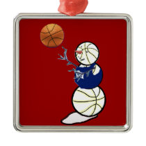 Basketball Snowman Metal Ornament