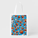 Basketball & Soccer Reusable Grocery Bags