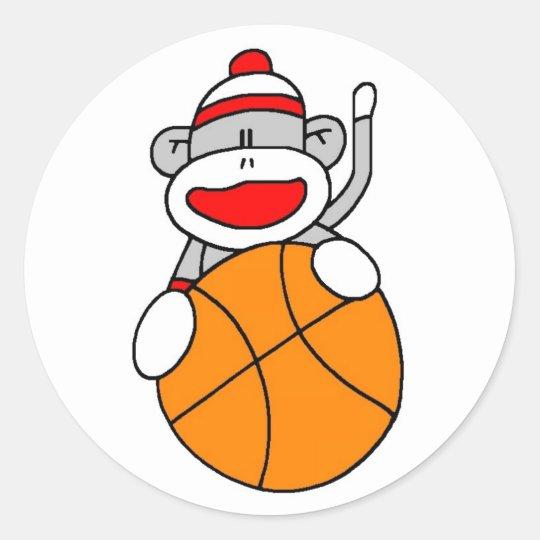 Basketball Sock Monkey Classic Round Sticker