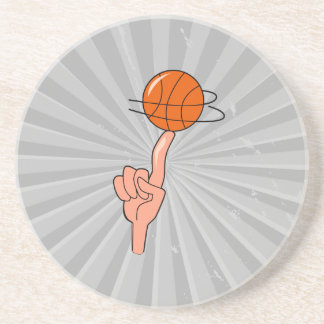 basketball spin on finger graphic sandstone coaster