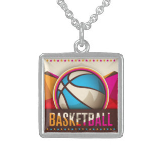 Basketball Sport Ball Game Cool Abstract Sterling Silver Necklace