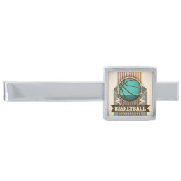 Basketball Sport Ball Game Cool Silver Finish Tie Clip