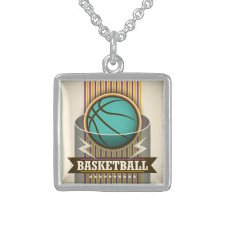 Basketball Sport Ball Game Cool Sterling Silver Necklace