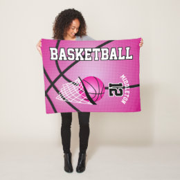 Basketball Sport Design - Pink Fleece Blanket