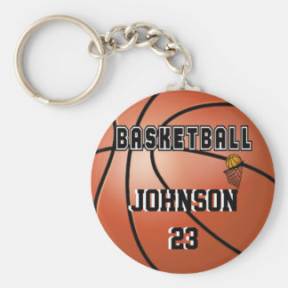 Basketball Sport | DIY Name & Number Basic Round Button Keychain