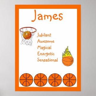 Basketball Sport kids Room Decor Name Art Print