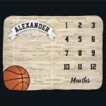 """Basketball Sports Boy Milestone Baby Blanket<br><div class=""""desc"""">New baby keepsake blanket featuring a sports court,  basketball,  the childs name,  and the months to mark the milestone.</div>"""