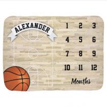 Basketball Sports Boy Milestone Baby Blanket