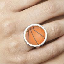 Basketball sports pattern gifts photo rings