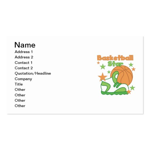 Basketball Star Shoe T-shirts and Gifts Double-Sided Standard Business Cards (Pack Of 100)