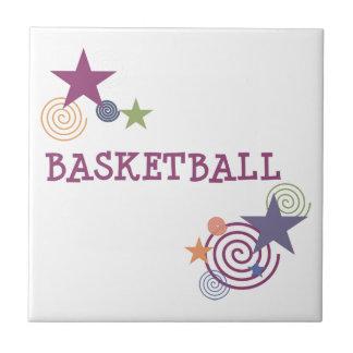 Basketball Stars and Swirls Ceramic Tile