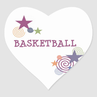Basketball Stars and Swirls Heart Sticker