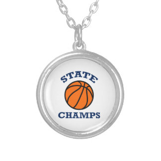 BASKETBALL STATE CHAMPS ROUND PENDANT NECKLACE