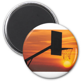 BASKETBALL SUNSET 2 INCH ROUND MAGNET