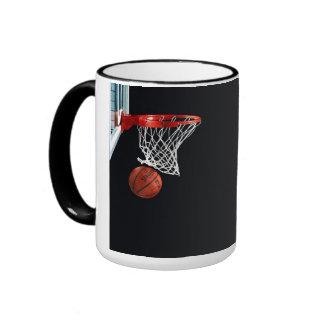 Basketball Swish Black 15 oz Ringer Mug