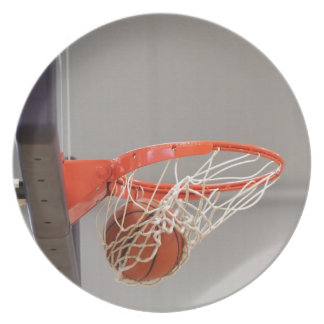 Basketball Swishing Through The Net Party Plates