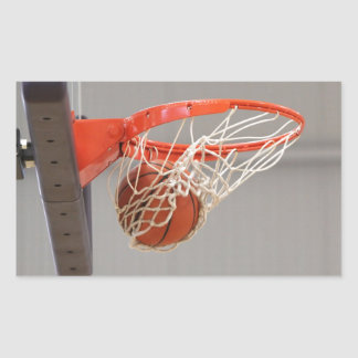 Basketball Swishing Through The Net Rectangular Sticker