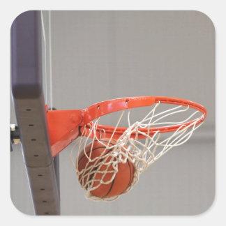 Basketball Swishing Through The Net Square Sticker