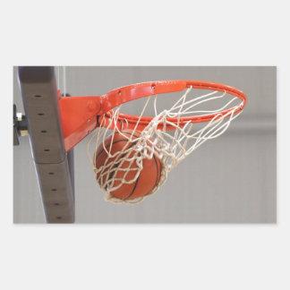 Basketball Swishing Through The Net Rectangular Sticker