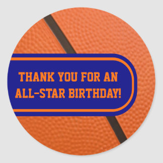 Basketball Team Colors Customizable Party Favor Classic Round Sticker
