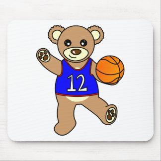 Basketball Teddy Bear Boy - Blue Mouse Pad