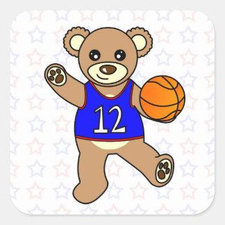 Basketball Teddy Bear Boy - Blue Square Stickers