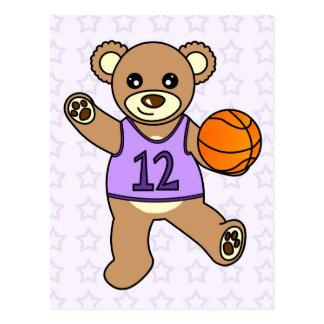 Basketball Teddy Bear Girl - Purple Postcard