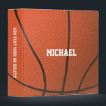 "Basketball Texture Personalized Binder<br><div class=""desc"">Head off to school,  work or practice with this Binder that makes your hoop dreams come true. Customize with a name or team name,  or add text to the spine.</div>"